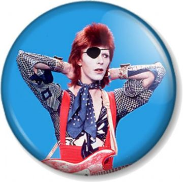 DAVID BOWIE Pinback Button Badge ZIGGY STARDUST HUNKY DORY EYE PATCH IMAGE